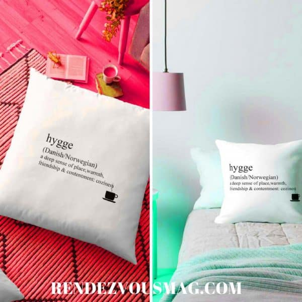 hygge pillows, tees, gifts