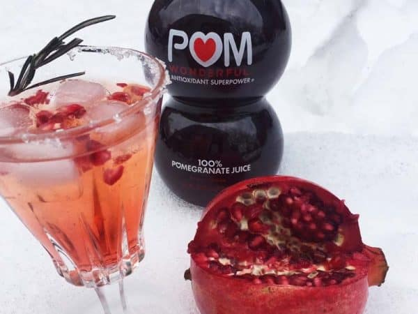 pomegranite sparkle with rosemary cocktail