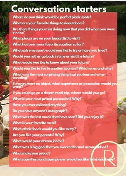 romantic picnic Conversation starters