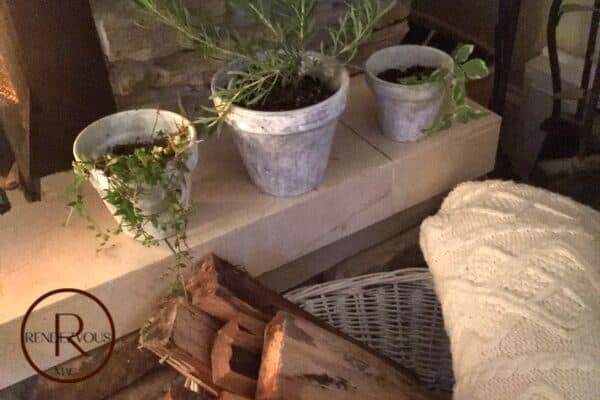 hygge distressed pots with herbs photo