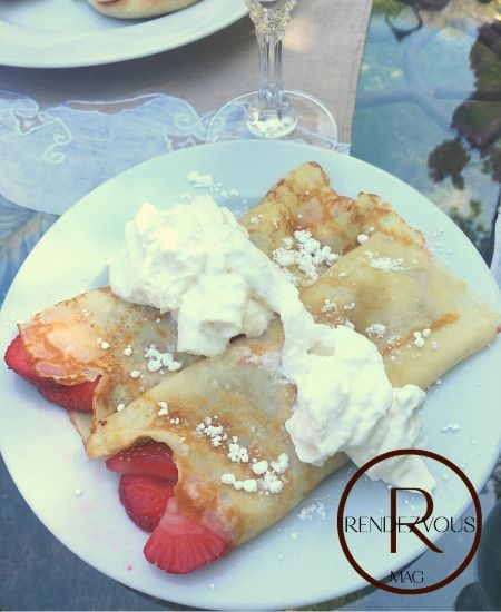 strawberry crepes outdoor brunch for two