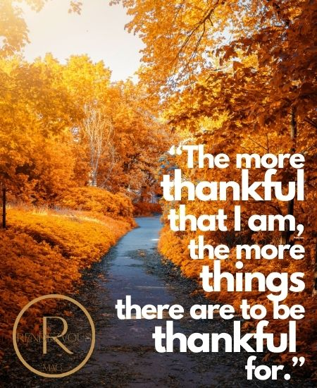 """The more thankful that I am, the more things there are to be thankful for."""